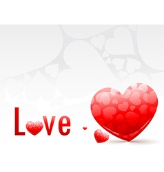 Collection of red heart with love text vector