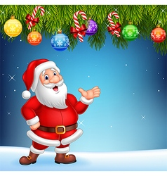 Cartoon santa claus waving hand with christmas vector