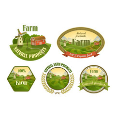 Farm fresh emblems set vector