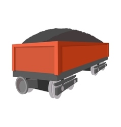 Wagon with coal cartoon icon vector