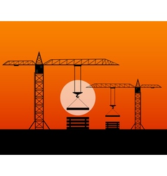 Two tall cranes vector