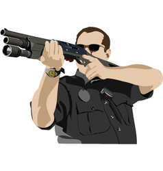 Policeman with gun vector