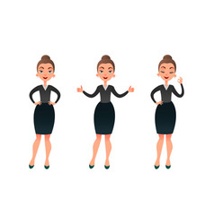 a set of young successful businesswoman showing vector image