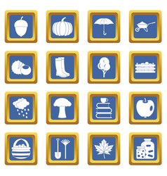 Autumn icons set blue vector