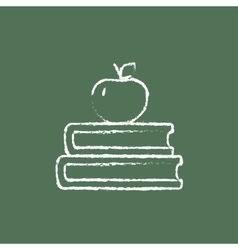 Books and apple on the top icon drawn in chalk vector image vector image