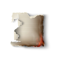 burning design templates torn paper with fire vector image vector image
