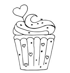 Cake with heart cupcake drawn in outline isolated vector