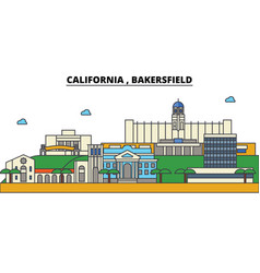 california bakersfield city skyline architecture vector image vector image