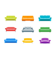 cartoon sofa or divan color icons set vector image vector image