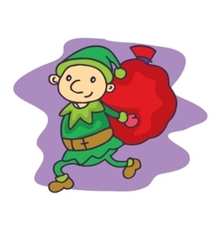 Christmas theme elf with gift bag vector image