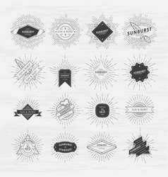 circle badges set with sunburst frames vintage vector image vector image
