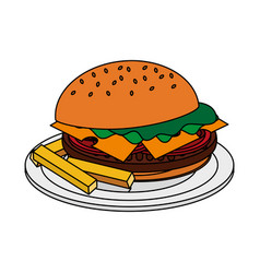 Color image cartoon hamburger in dish with french vector