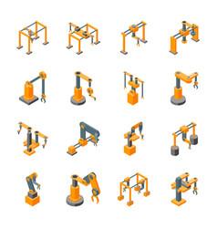 Conveyor machines robotic hand icons set isometric vector