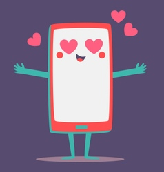 Cute cell phone crazy in love vector