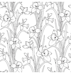 Daffodils narcissus flowers seamless pattern vector