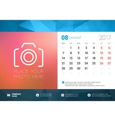 Desk Calendar Template for 2017 Year August Design vector image