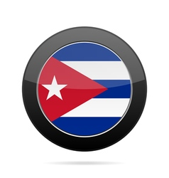Flag of cuba shiny black round button vector