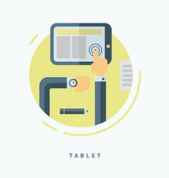 Flat Style Tablet PC Concept Man Working with vector image vector image
