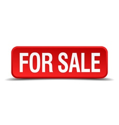 For sale red 3d square button isolated on white vector