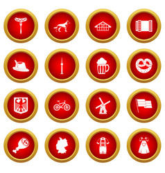 Germany icon red circle set vector