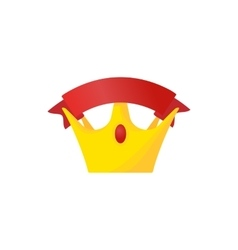 Golden crown with red riibbon icon cartoon style vector image vector image