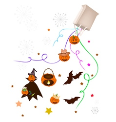 Halloween item and evil falling from paper bag vector