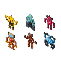 Isometric robot toys on white background vector