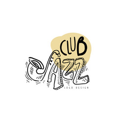 Jazz club logo vintage music label element for vector