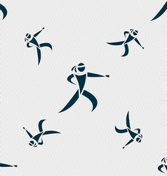Karate kick icon sign Seamless pattern with vector image