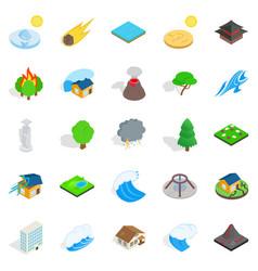 landscape element icons set isometric style vector image vector image