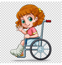 Little girl on wheelchair vector