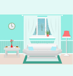 living room interior with furniture winter vector image vector image