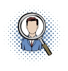 Magnifying glass focused on a person comics icon vector image vector image