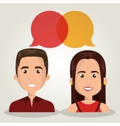 Man woman talking bubble dialogue isolated vector