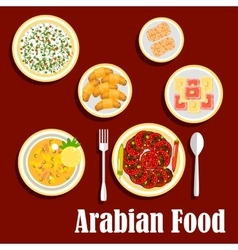 Middle eastern lunch with desserts flat icon vector