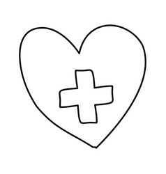 Monochrome hand drawn contour of heart with cross vector