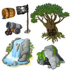 mystical tree cave waterfall and pirate symbols vector image vector image