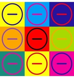 Negative symbol pop-art style icons set vector