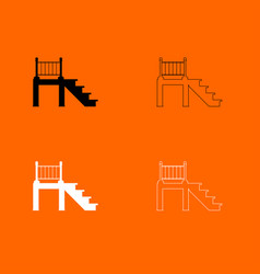 Porch black and white set icon vector