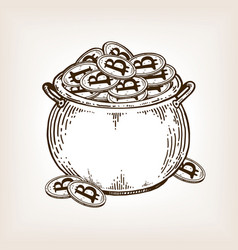 Pot of coins engraving vector