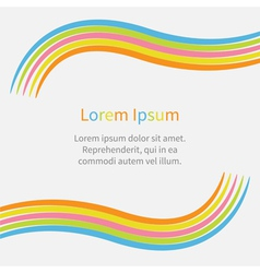 Rainbow abstract curve frame template with text vector