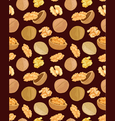 seamless texture with tasty walnuts on brown vector image
