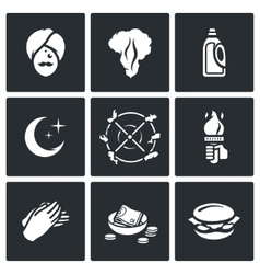 Set of fire show icons fakir flame fuel vector