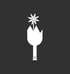 White icon on black background broken bottle and vector