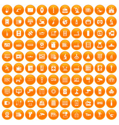 100 hardware icons set orange vector