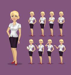 woman in business style set of poses and emotions vector image