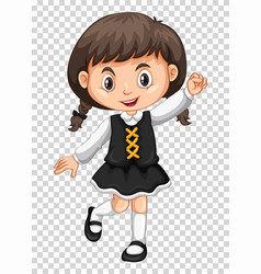 Cute girl on transparent background vector