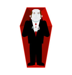 Dead man in coffin isolated corpse in casket on vector