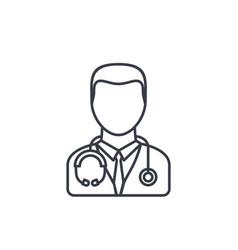 Avatar doctor whith phonendoscope thin line icon vector