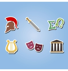 Color icons with greece symbols vector